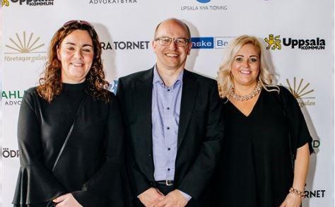 Therese Löfgren, Roger Wiiand och Susanna Lans på Uppsala företagargala 2018